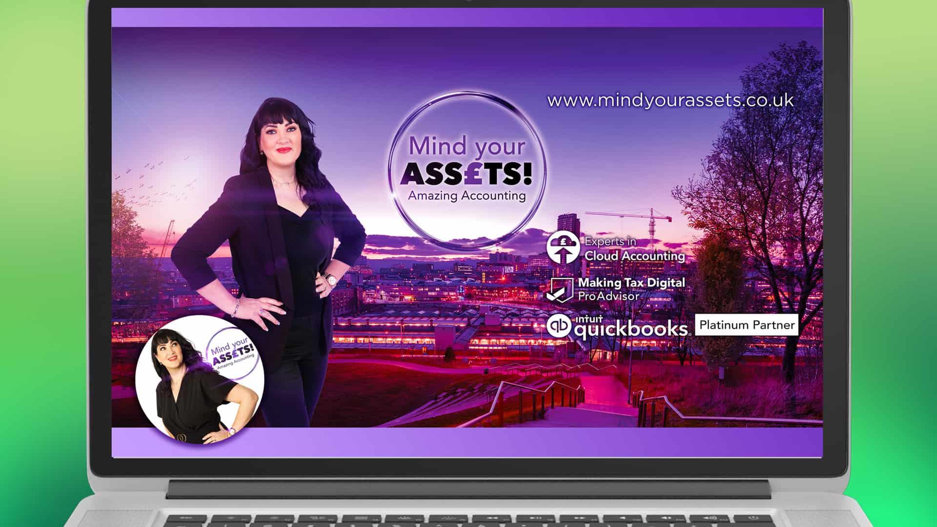Image of Mind Your Assets social media header on laptop